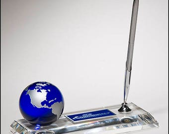 Crystal pen set with blue globe and high quality metal pen - recognition award - free engraving - laser engraved