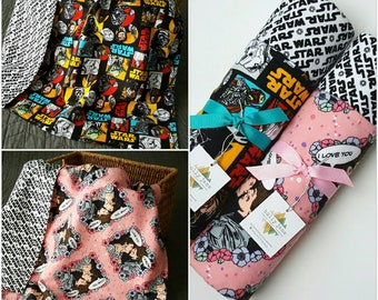 Flannel blanket, Star Wars baby blanket, flannel baby blanket, large double sided baby blanket, toddler blanket, Star Wars for girls
