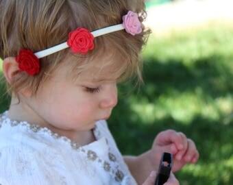 baby girl headband, little girl headband, newborn photo accessories, ombre hair accessories, pink headband, flower headband, small crown
