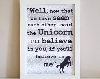 Unicorn Quote Print - Alice in Wonderland Wall Art - Childrens Literature Wall Decor - Unicorn Gift - Book Quote - Literary Quote Print