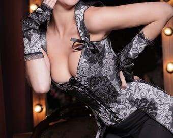 Corset Heraldic, black - black corset lingerie corset waist trainer by LinCorsets™