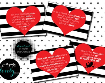 Valentine's Day Treasure Hunt Note Cards | Printable | Instant Download