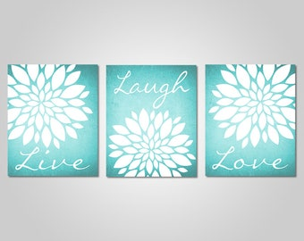 Delicieux Teal Flower Wall Art   Live Laugh Love   Bedroom Dandelion Art   Aqua Decor