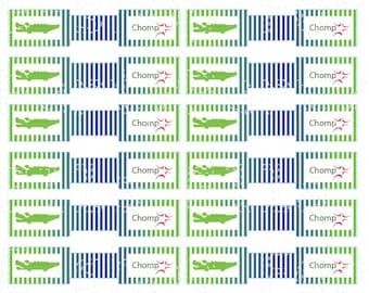 Crocodile Straw Flag Labels Digital File