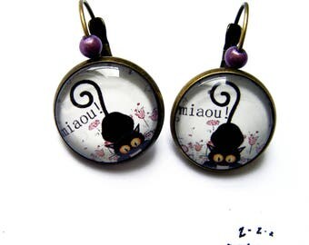 """Meow"" mischievous black cat earrings"