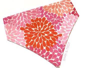 Pink Blooms Slip-On Dog Bandana