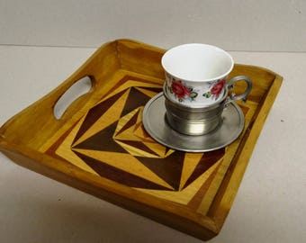 MARQUETRY tray 20 X 20 wood inlaid