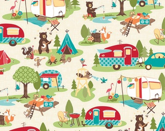 Cream Camping Animals Cotton Fabric