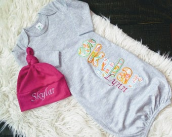 Personalized Infant Gown with Hat