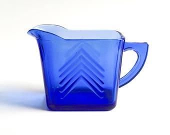Vintage blue creamer, Hazel Atlas blue cobalt creamer