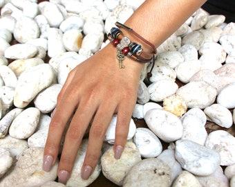 Key Charm Bracelet, Leather Bracelet, Tibetan Bracelet, Adjustable Leather Band, Unisex Leather Bracelet, Bohochic Bracelet LB61