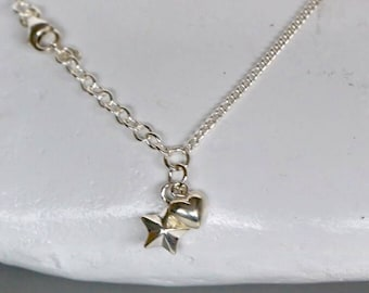 Heart And Star Anklet, Sterling Silver Anklet, Delicate Anklet, Foot Chain, Boho Anklet, Christmas Gift Jewelry, Feet Accessories, (AS121)