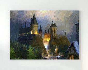 Hogwarts castle, hogwarts art, fantasy castle, castle print, harry potter poster, magical castle, hogwarts painting, dumbledore painting