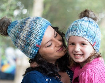 Knit mathcing hats / Pom pom hats / Winter hat / Mommy and me / Pom pom beanies / Wool hats / Blue knit hats / Unisex hats / Knit womens hat