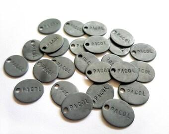 Jewelry Tags - Sterling Silver  Oxidized Oval Handstamped Custom Logo Jewelry Design Branding