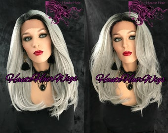 Silver Undertone Gray Ombre Medium Length Human Hair Blend Lace Front Wig