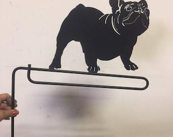 French Bulldog Metal Garden Flag Pole Holder