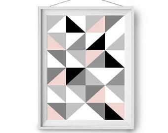 Nursery Art, Geometric Print, Scandinavian Print, Modern Art, Art Prints, Triangles Art, Wall Decor, Blush Grey Black Art, Print Avenue Art