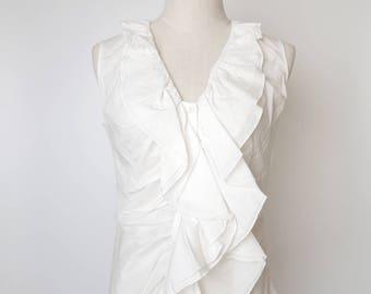 White Women Vintage Blouse Ruffle Design 1980s Sleeveless Size M