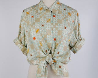 Vintage Blouse, Graphic Shape Print Flat Collar Long Sleeves Beige Women Blouse Size S-M