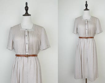 Beige Vintage Dress Brown Strip Square Neck Short Sleeves Size S-M
