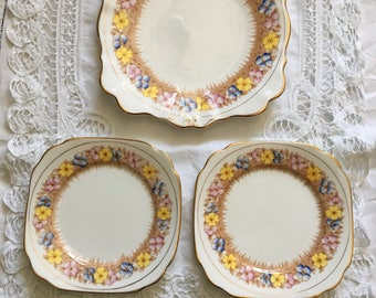 beatufull bell china cake plate and two matching sides