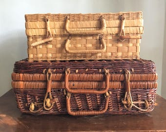 Vintage Nesting Wicker Picnic Baskets/Cases