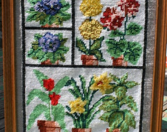 Potted Flowering Plants Needlepoint * Framed Wall Hanging