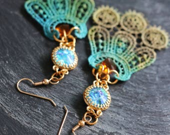 turquoise earrings lace blue jewelry long bohemian earrings blue crystal dangles brown bead earrings floral bridal jewelry yellow lace
