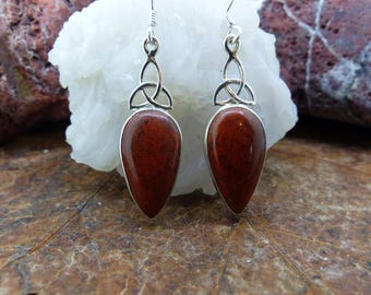 Celtic drop sterling silver earrings Scottish Red Jasper, Free WORLDWIDE DELIVERY & RETURNS, Two Skies, Healing (8014)