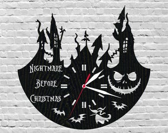 Nightmare Before Christmas Nightmare Before Christmas Decor Childrens Room Decor Wall Clock Rustic