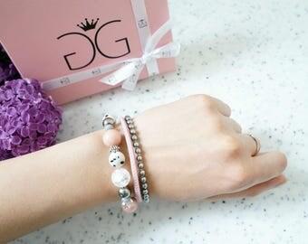 Light Pink Silver Natural Stone Leather Beaded Triple Bracelet, Casual Bracelet