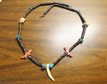 "Native American Indian Fetish Necklace - 25 1/2"" Long - Turquoise Coral Claw Etc - Great Piece!"