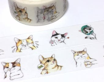 cute cat washi masking tape 5M x 2cm comic cat grey cat brown street cat naughty cat fat cat big cat notebook planner sticker tape decor