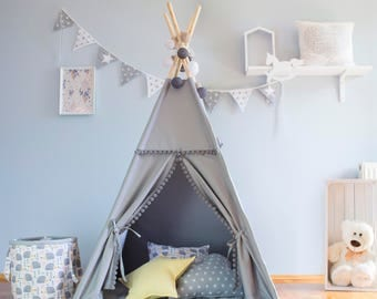 Teepee, gray pompons, tipi, children's teepee, playtent, zelt, wigwam, tent, kids teepee,  high quality teepee