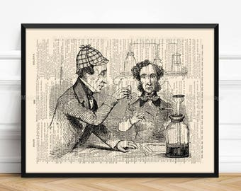 Holmes Watson, Boyfriend Gift, Book Lover Poster, Sherlock Holmes, Gifts For Him Print, Gift for Coworker, Literary Gift Print 297