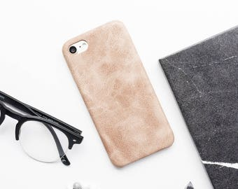 Tan Faux Leather iPhone Case - iPhone 7 Case, iPhone 7 Plus Case, iPhone 6s Case, iPhone 6s Plus Case, iPhone 6 Case, Tan Leather iPhone