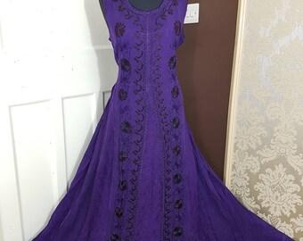Maxi Sleeveless Rayon Pagan,Summer Dress, Evening Dress,Sun Dress, Boho GREEN, PURPLE Embroidered Dress Plus Size U.K. Size 14 16 18 20