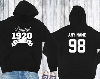 1920 Birthday Hoodie 98 Limited Edition Birthday Hoodie 98th Birthday Gift for Him Celebration Gift for Her Hoodie Birthday Gift 1920