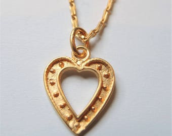 Necklace heart shaped 925 sterling silver, gold plated / gold plated
