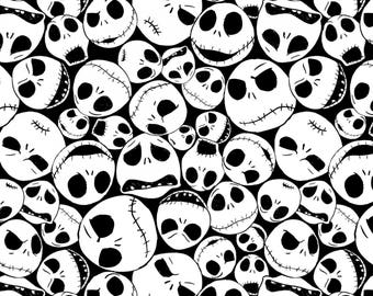 Disney's Nightmare Before Christmas Packed Jack Cotton Fabric from Springs Creative licensed white and black fabric by the yard or metre
