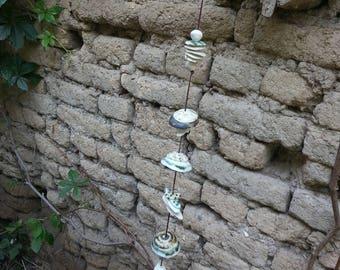 Ceramic Wind chimes, Home Sweet Home, Garden art, Outdoor art, Ceramic garden art, Caravan gifts