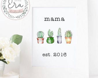 Mothers Day Print || Cactus design || Wall Art || Occasion Print || Personalised