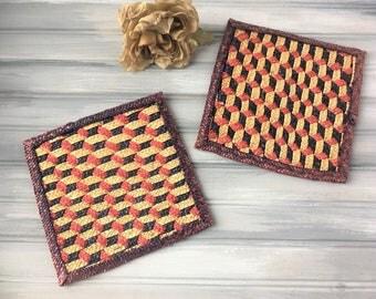 Set of 2 Wicker Trivet / Woven Trivet / Boho Decor / Wicker Hot Plate / Boho Wall Decor / Wicker Wall Decor / Wicker Pot Holder