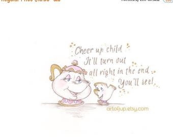 ON SALE Beauty and the Beast Mrs Potts and Chip art, print, home decor