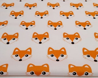 100% cotton fabric printed 50 x 160 cm, cotton fabric fabric Fox heads Orange foxes on white background