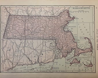 1915 Massachusetts Map - Beautiful Old Map of Massachusetts - Small Antique Map - Vintage Atlas Map - 5x7
