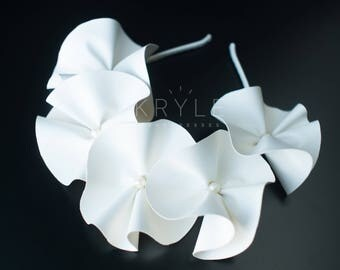 floral crown, bridal headpiece, white flower crown, white crown, boho headband, flower tiara, flower headdress, rose flower band, wedding