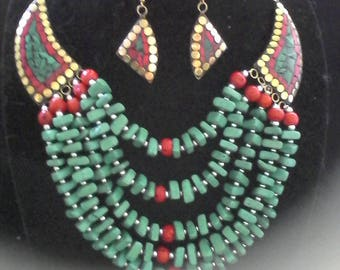 turquoise and coral necklace and  eating set #384