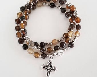 Brown Striped Agate Stretch Rosary Bracelet